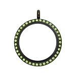 30mm Peridot Crystal Twist Black Stainless Steel Floating Locket